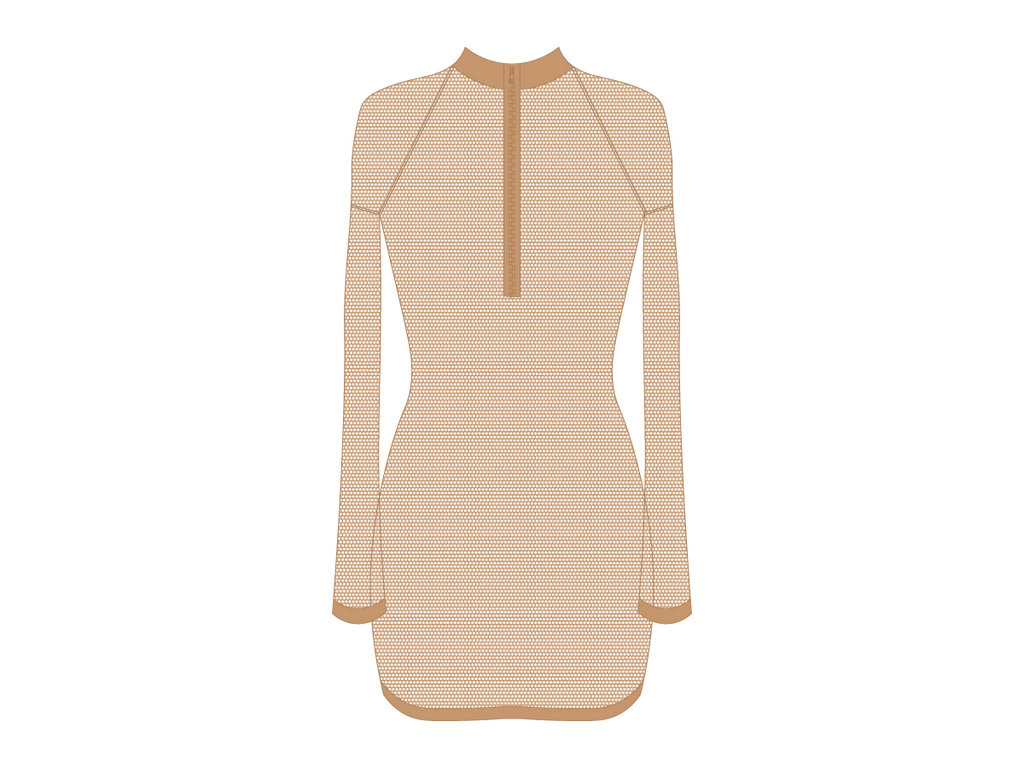 Nude Mesh Zipper Logo Cover-up Dress