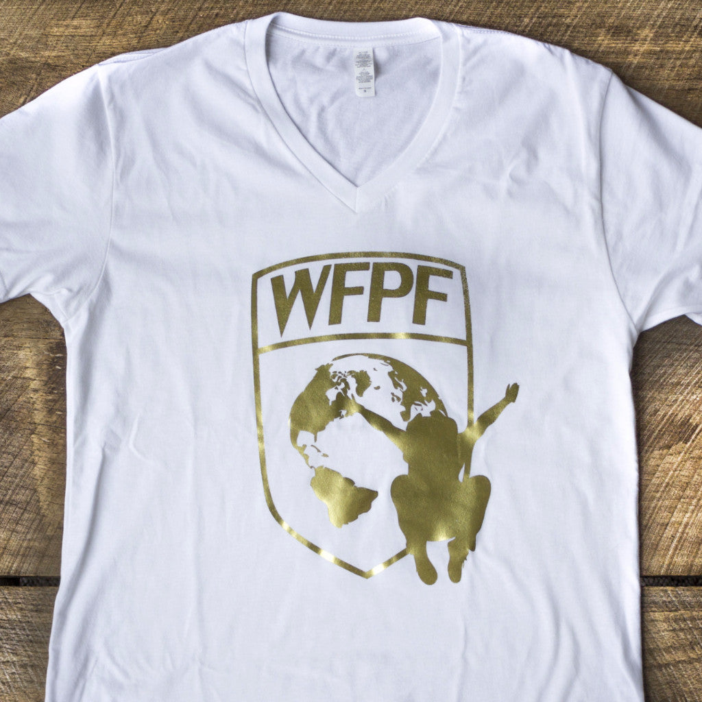 White & Gold WFPF V-Neck Tee