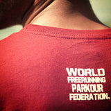 parkour tshirt red detail world parkour freerunning federation