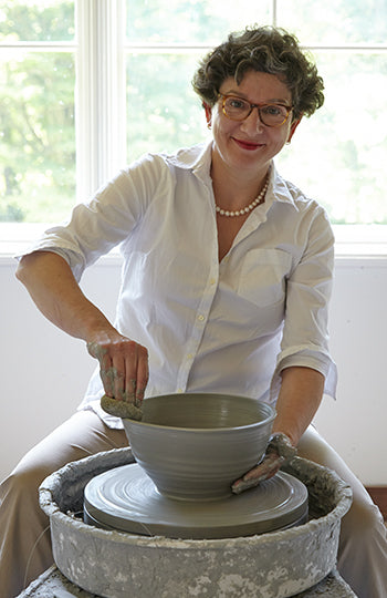 Frances Palmer at her potting wheel