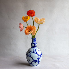 High Fire Translucent Porcelain Narrow Neck Vase with Cobalt Painting  4199