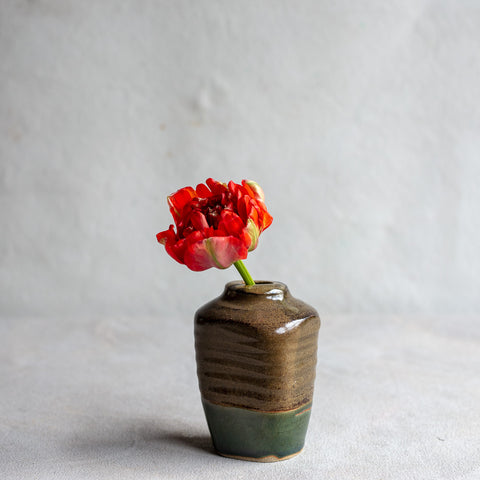 High Fire Stoneware Vase With Ash and Oribe Glaze 4212