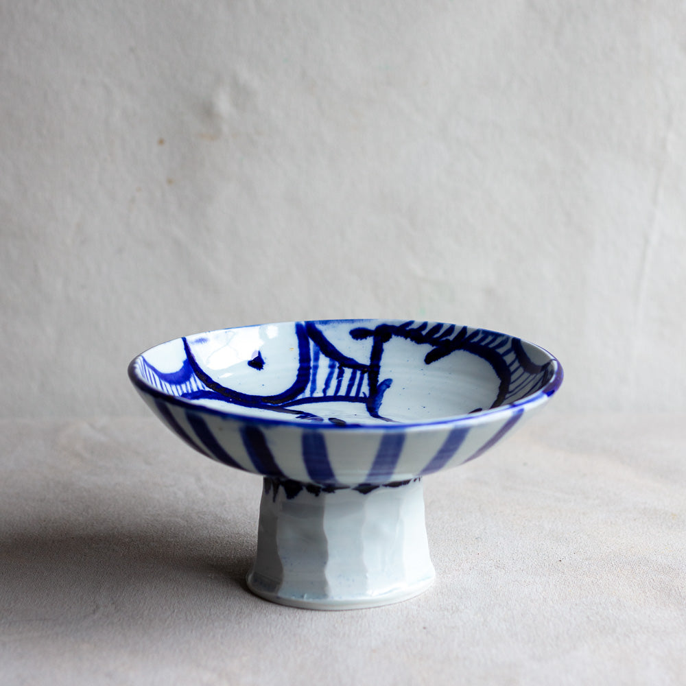 High Fire Translucent Porcelain Footed Bowl with Cobalt Painting 4256