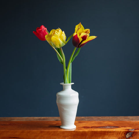 White Earthenware Bud Vase 5308