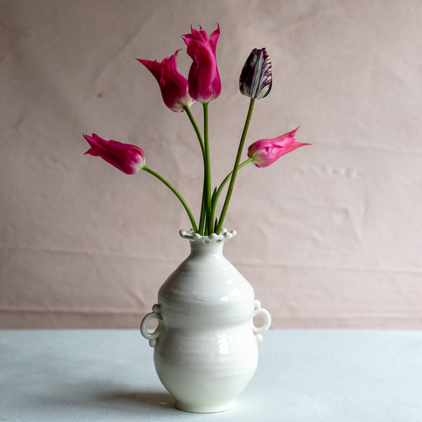 White Earthenware Bud Vase 5536