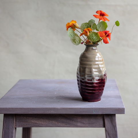 High Fire Translucent Porcelain Bud Vase with Ash and Oxblood Glaze #7111