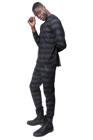 FW14 STRIPED PANTS WITH MESH OVERLAY
