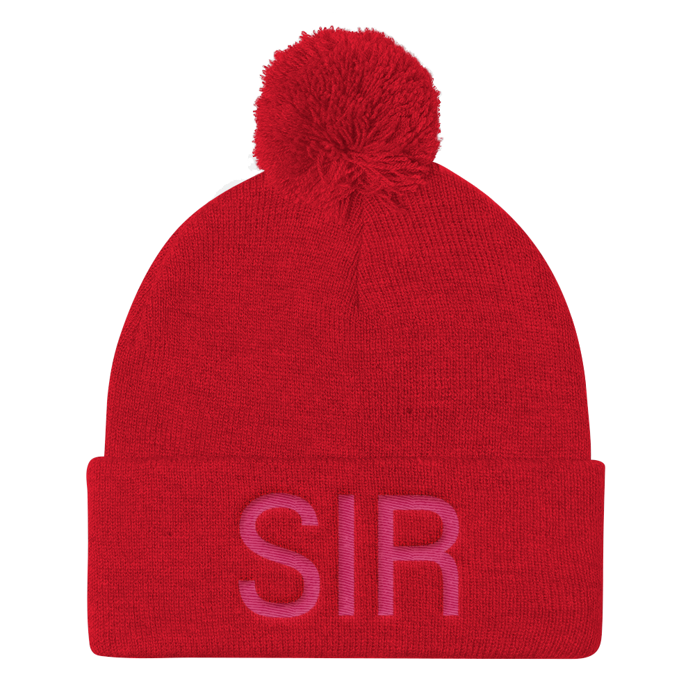 A Pom Pom Knit Cap - Hot Red