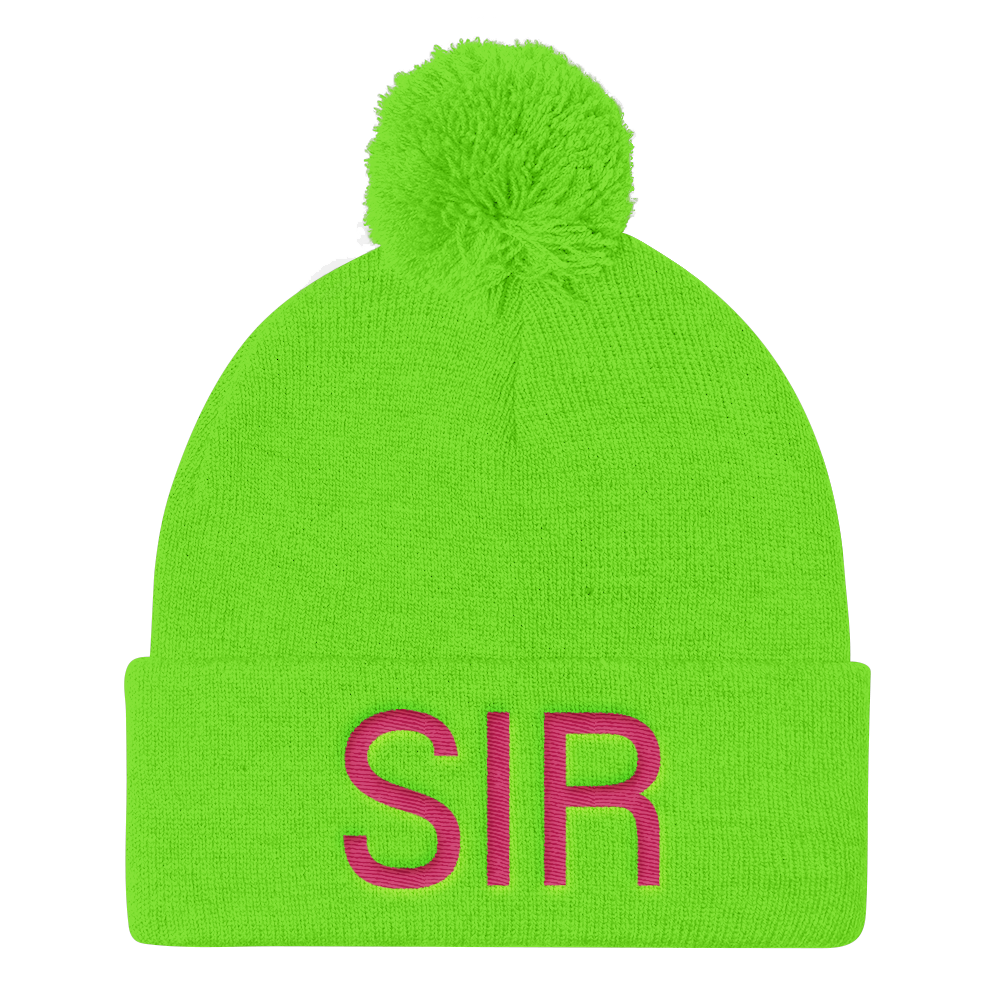 A Pom Pom Knit Cap - Neon Yellow