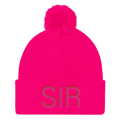A Pom Pom Knit Cap - Hot Pink