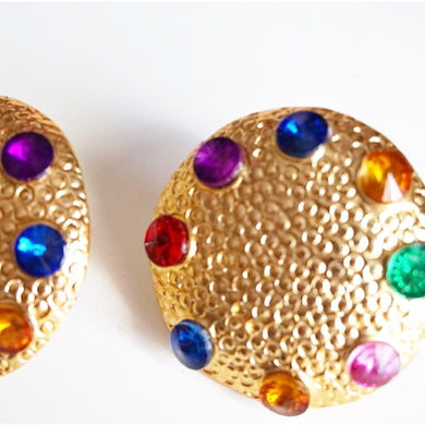 Gold Plated Resin Circle Multicolour Gem Earrings