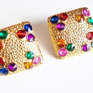 Gold Plated Resin Square Multicolour Gem Earrings
