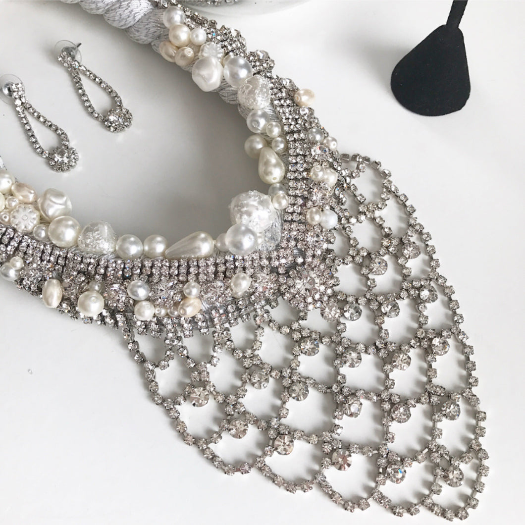 Pearls & Crystal Braided Silver Necklace