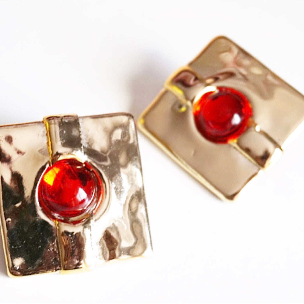 Resin Gold Plated Square Red Gem Earrings