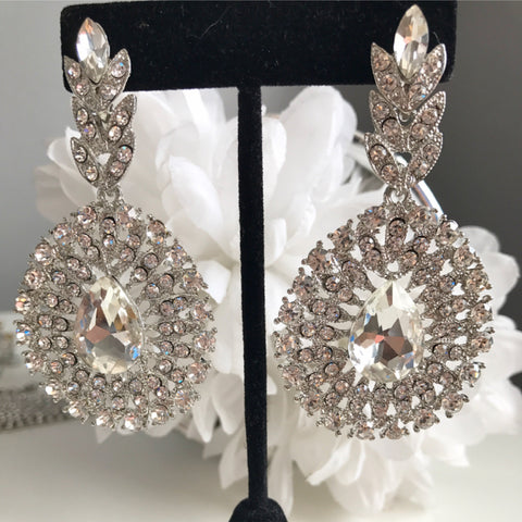 Diana Silver Crystal Drop Earrings