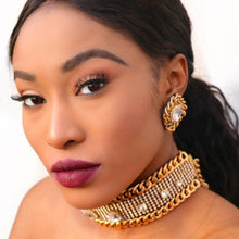 Glam Chain Crystal Choker & Earrings Set