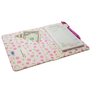Cute Server Books with Pink Roses Pattern with Spring Pastel Colors