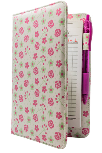 Pink Roses Server Books for Waitresses Cute Pattern Pastel for Spring