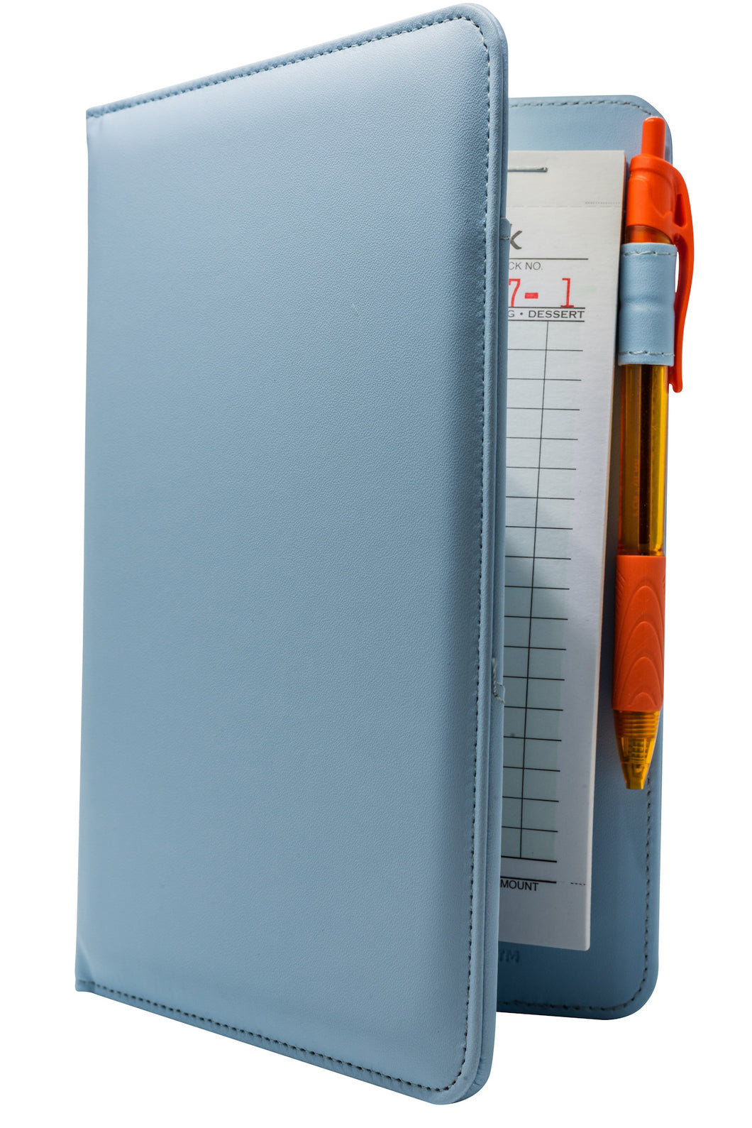 Light Blue Server Book with Orange Pen for Restaurant Waitresses