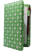 Load image into Gallery viewer, Cute Green Paw Print Server Book for Animal Lovers Gift Idea for Waitresses