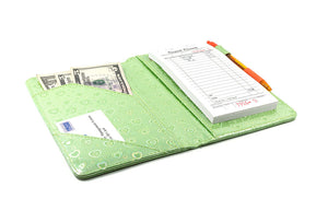 "[SALE] SERVER BOOK™ Metallic Collection 8"" x 5"" Server Organizer - Green Hearts"