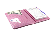 "Load image into Gallery viewer, SERVER BOOK™ Metallic Collection 8"" x 5"" Server Organizer - Pink Hearts"