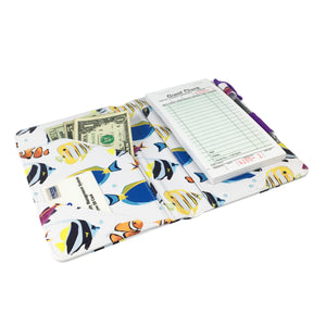 "SERVER BOOK™ Patterns 8"" x 5"" Server Organizer - Watercolor Tropical Fish"