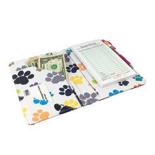 "Load image into Gallery viewer, SERVER BOOK™ Patterns 8"" x 5"" Server Organizer - Colorful Paw Prints"