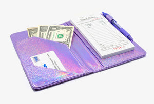 Purple Holographic Server Books - Sparkle Metallic with Purple Pen and Order Pad
