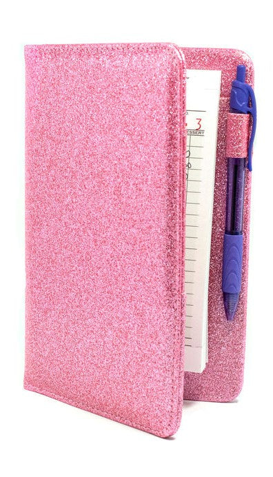 Pink Sparkle Server Book Cute Glitter Waitress Organizer
