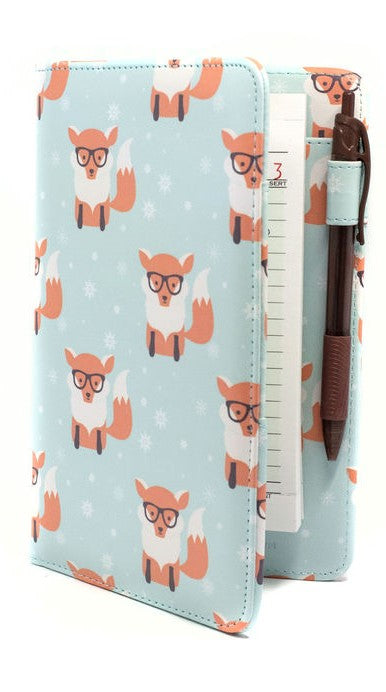 Cute Fox Server Book Nerdy Foxes in Winter Snow Pattern Animal Server Books