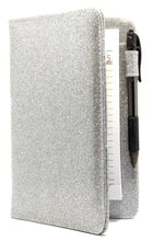 "Load image into Gallery viewer, SERVER BOOK™ Metallic Collection 8"" x 5"" Server Organizer - Silver Glitter"