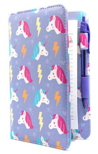 "Load image into Gallery viewer, SERVER BOOK™ Patterns 8"" x 5"" Server Organizer - Purple Unicorns"