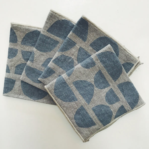 Block-printed Cocktail Napkins- set of 4