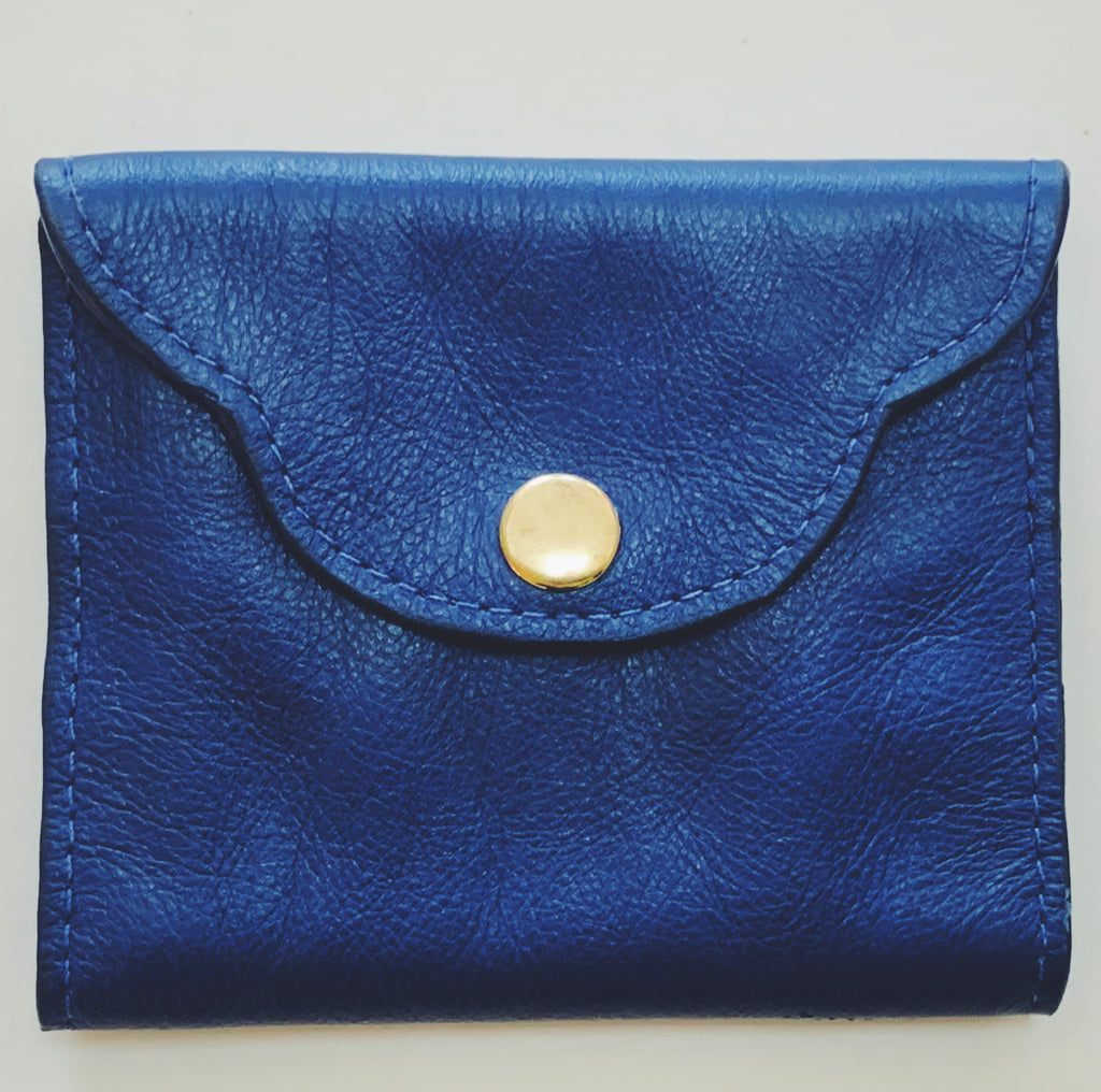 Handmade Leather Scalloped Wallet - Cobalt Blue