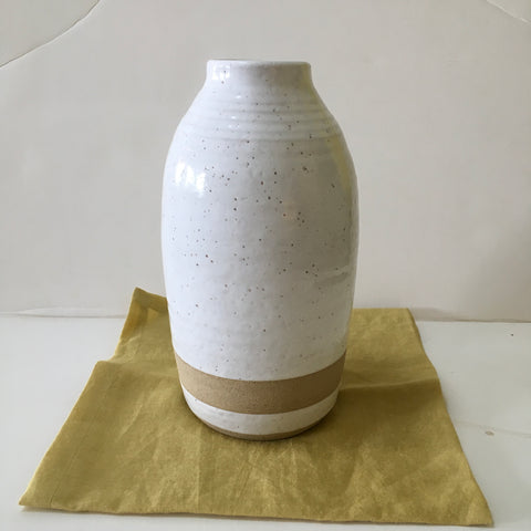 Tall Speckled Off-White Vase