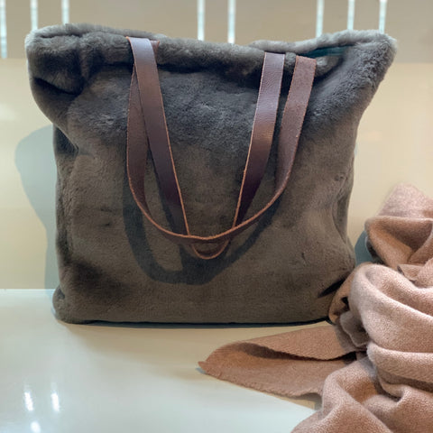 Reworked Vintage Sheepskin Tote