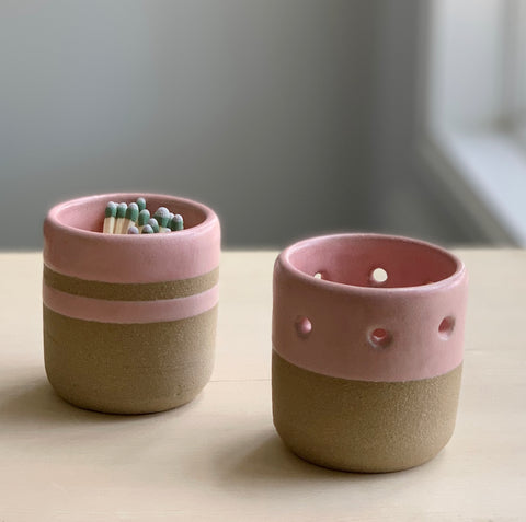 Ceramic Set -  Votive Holder + Match Holder/Striker
