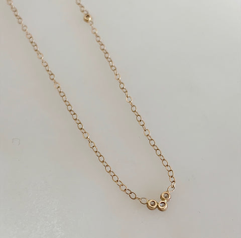 14k Gold Four Diamond Necklace