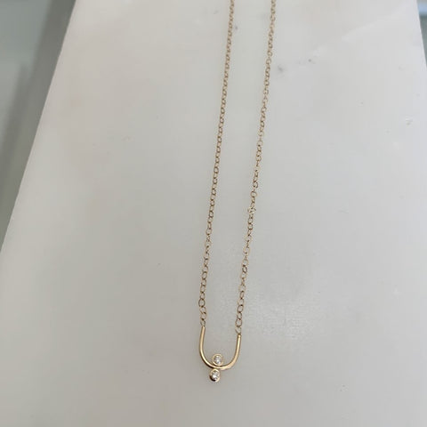 14k Gold Two Diamond Necklace