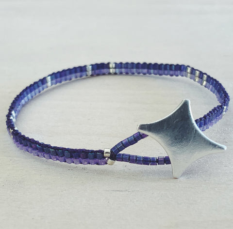 ** FUNDRAISER FOR BEIRUT ** - Glass Bead Bracelet - purple