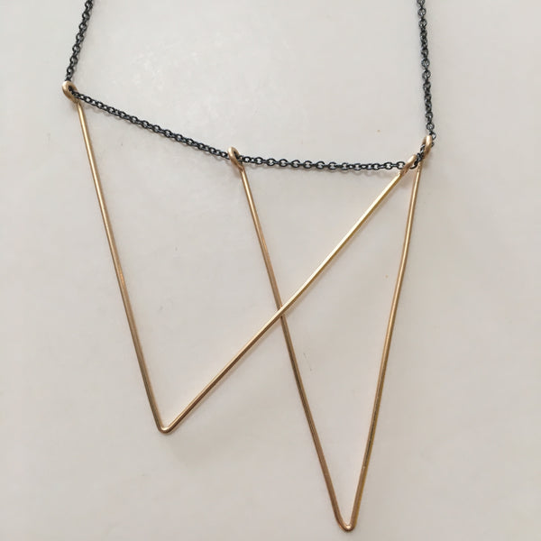 Triangle Necklace- Gold + Oxidized Silver