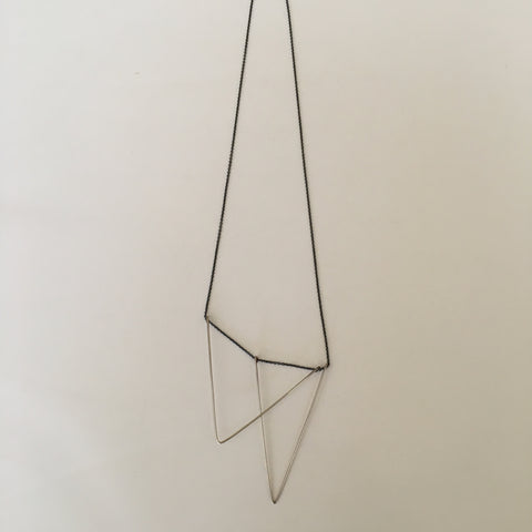 Triangle Necklace- Silver + Oxidized Silver