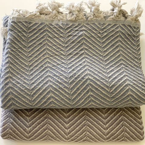 Turkan Home - Winter Blanket - Grey & Lilac Herringbone