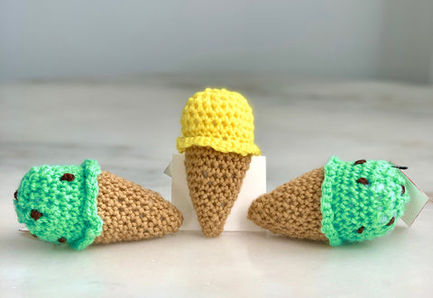 Crocheted Ice Cream Cones- Small