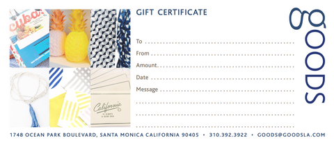GOODs - $100 Store Gift Certificate