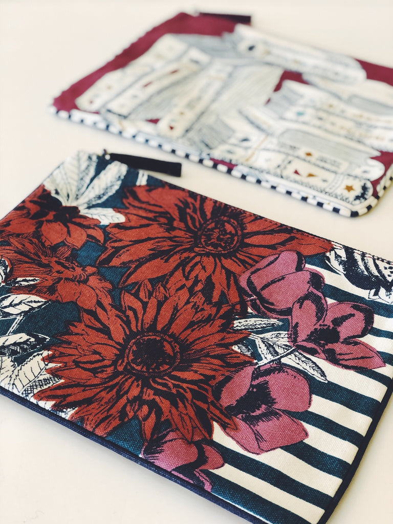 Printed Pouch with flowers