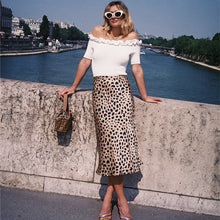 Load image into Gallery viewer, 100% Silk satin The Naomi Skirt Wild Things 3/4 Length Slip Style Skirt Leopard Print Skirt The Naomi Slip Skirt