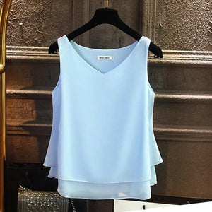 2019 Fashion Brand Women's blouse Summer sleeveless Chiffon shirt Solid  V-neck Casual blouse Plus Size 5XL Loose Female Top