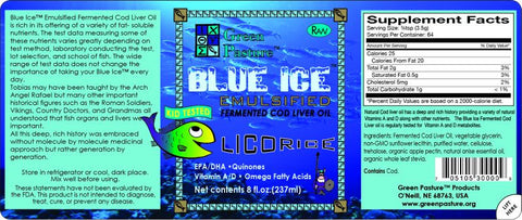 BLUE ICE Emulsified Fermented Cod Liver Oil - Licorice KID TESTED - Licorice